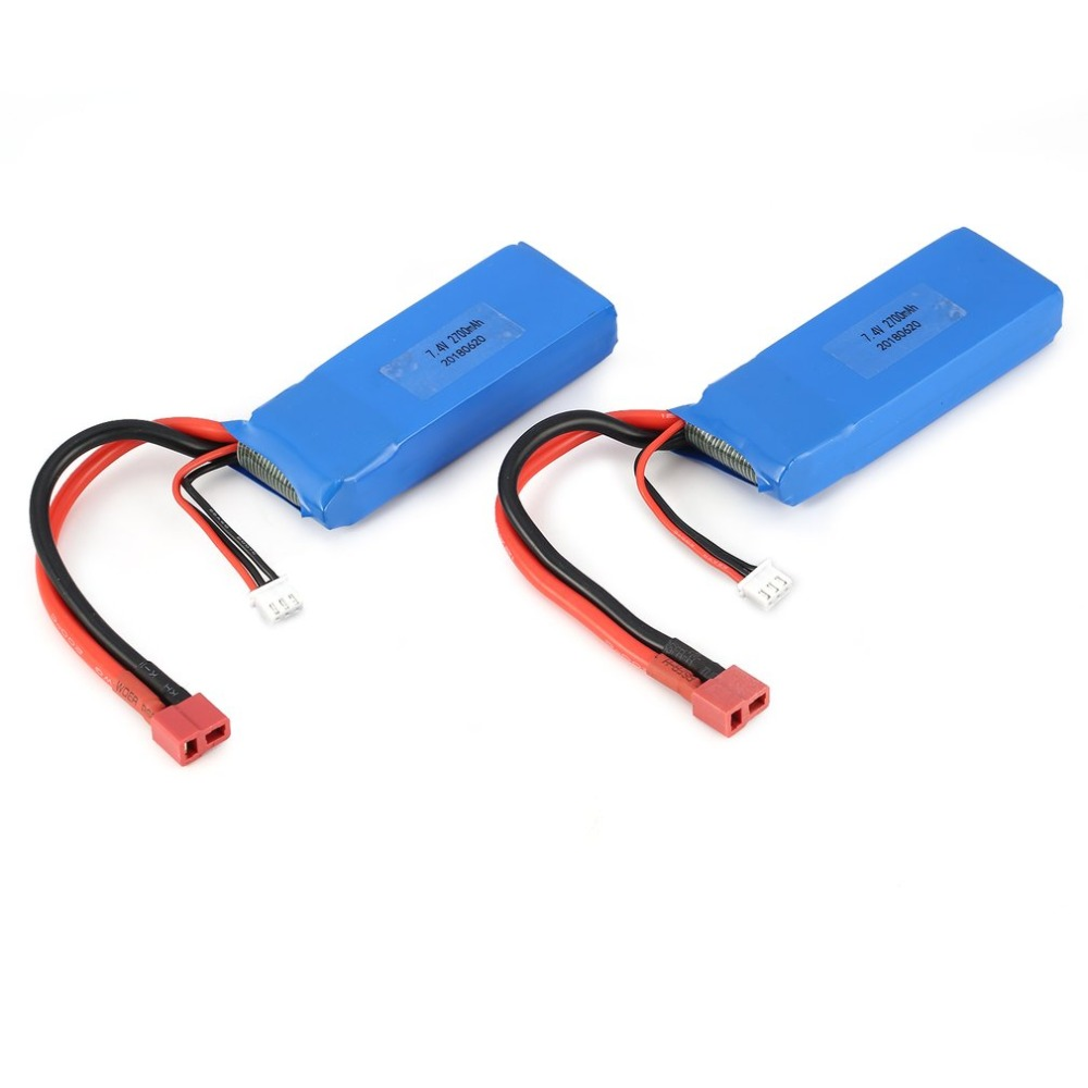 2pcs 7.4V 2700mAh 20C 2S Lipo Battery with T Plug For Wltoys <font><b>10428</b></font>-<font><b>A</b></font> <font><b>10428</b></font>-B <font><b>10428</b></font>-B2 <font><b>10428</b></font> 1/10 RC Crawler Car Feilun FT012 image