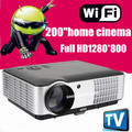 Hot selling 2800Lumen build in android 4.22  1280x800 Digital 1080P Full HD 3D Video home theatre TV LCD LED cinema Projector