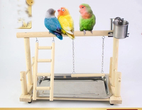 Small parrot solid wooden swing ladder pepper standing stick stand bird feeder shelf toy
