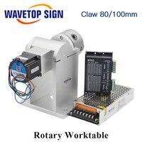 WaveTopSign лазерная маркировочная машина поворотный стол 180 градусов с 80 трехчелюстный патрон 2 фазы 57 шаговый двигатель 2 фазы драйвер