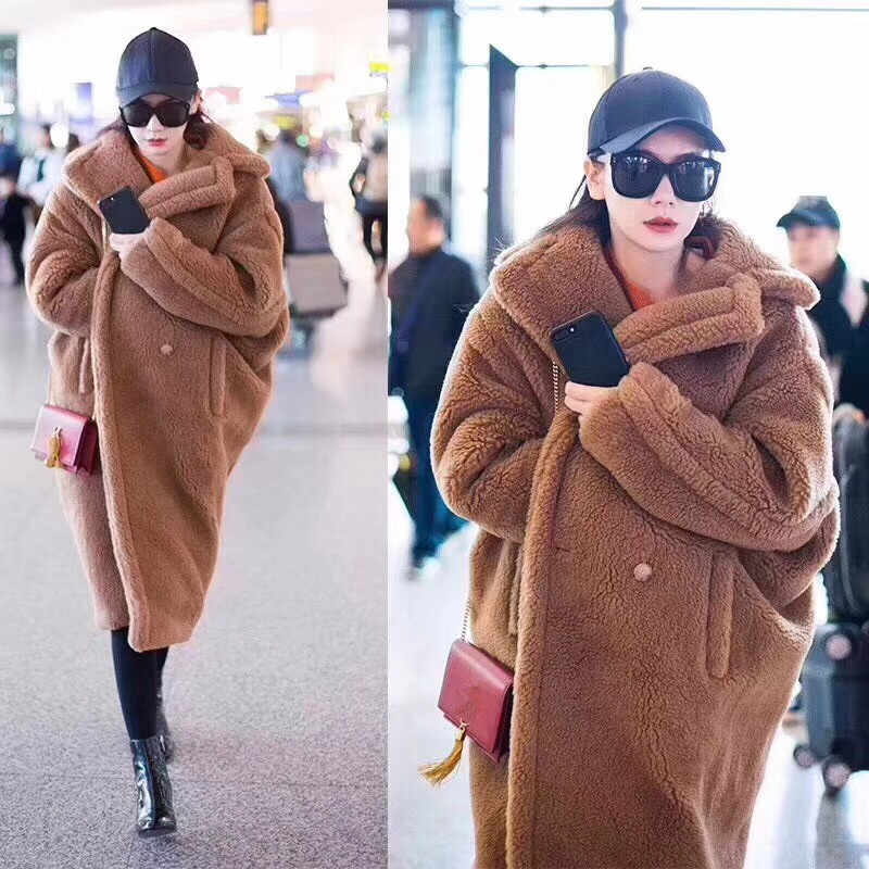 PINK JAVA QC1848 new arrival free shipping real sheep fur coat long style wool coat camel teddy coat over size winter women coat