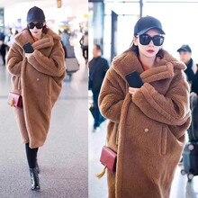 Розовый JAVA QC1848 Новое поступление Бесплатная доставка пальто из натурального овечьего меха длинная стильная шерстяное пальто светло коричневый Тедди пальто по размеру, зимнее женское пальто