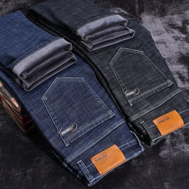 5bcc1c588da 2019 Winter New Men s Warm Black Jeans Elasticity Slim Fit Thicken Denim  Pants Brand Trousers Male Bule Big Size 38 40 42 44 46