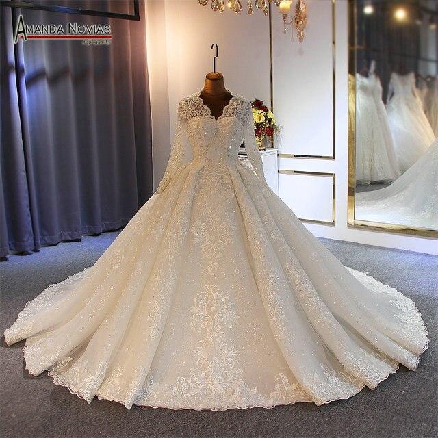 גלימת דה soiree חתונת שמלת 2019 כלה שמלת מלא ואגלי יד לתפור 100% אמיתי עבודה