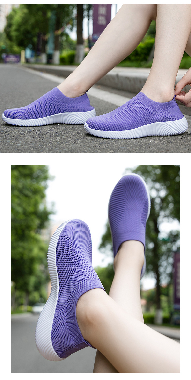 Slip On Flying Knit Women Fashion Sneakers Breathable Flat Heel Casual Shoes Round Toe Low Top Women Shoes XU034 (32)
