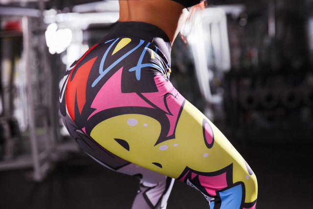 Holographic Color 3D Graphic Full Printed Workout Yoga Pants 4