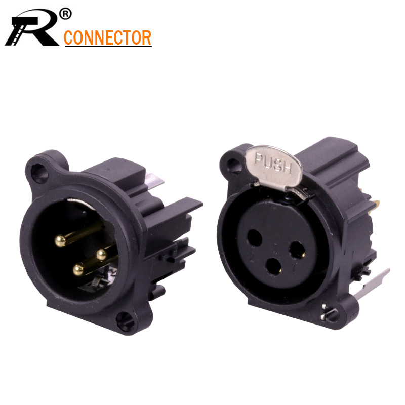 XLR  Plug Male Connector Black Red 3 Pin  Pack 2