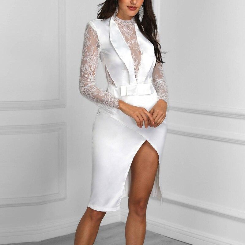 Solide Fourreau Date Femme Fête mollet cou Sexy 2018 V Blanc Robe Pleine Club De Nuit Pour Mi Eau Robes Dentelle Mlle wzxOS