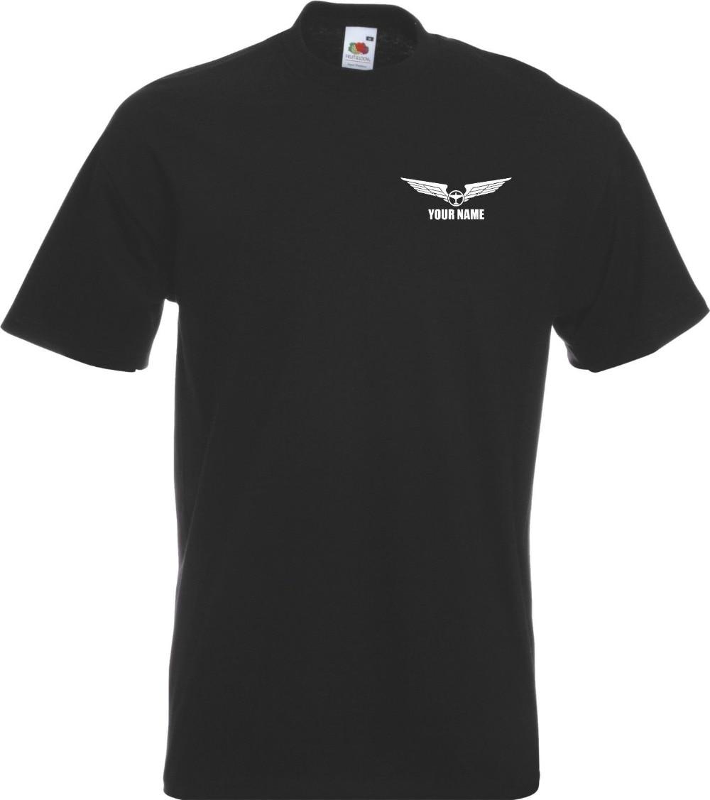 Aeroplane Pilot Personalised Wings Flight 2018 Fashion Short Sleeve Black T Shirt 100% Cotton Casual Tee Shirt