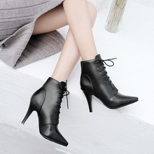 Big Size 11 12 13 14 15      Europeans and Americans breeze simple pointed slim high heel front lace boots