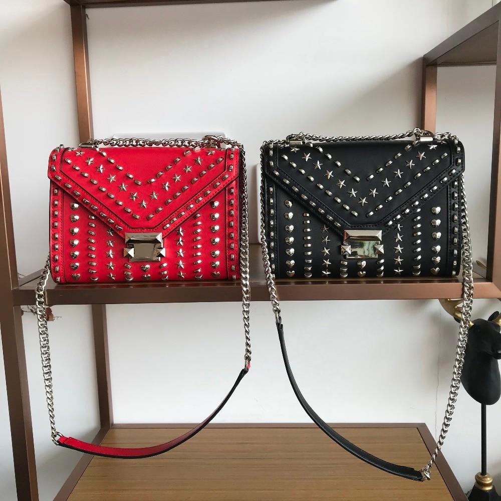 7a23bad68f54 Kafunila 2018 women genuine leather handbags high quality famous brand  designer luxury rivet chain crossbody messenger bag bolsa