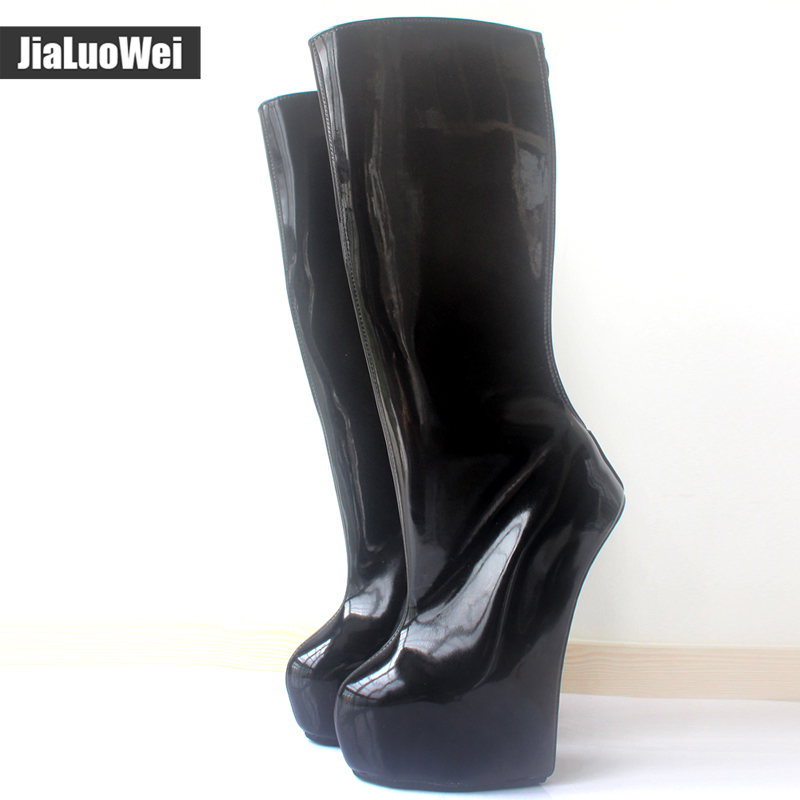 jialuowei New 20cm Extreme High Heel  back Zip Sexy Fetish Strange Style Sole Heelless Ponyplay Platform Knee-High Ballet Boots new extreme high heel 20cm heel pointed toe sexy patent leather heel needle metallic sexy fetish inseam boots a 027