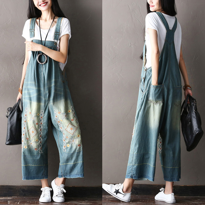 2017 female new summer  plus size embroidered bib pants all-match 100% cotton big crotch jeans pants