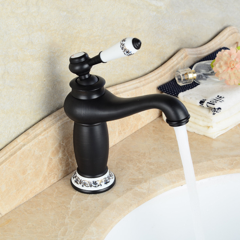 Bathroom Faucet Black Oil Rubbed Brass finish Ceramic Flower Pattern Basin Sink Faucet Single Handle water