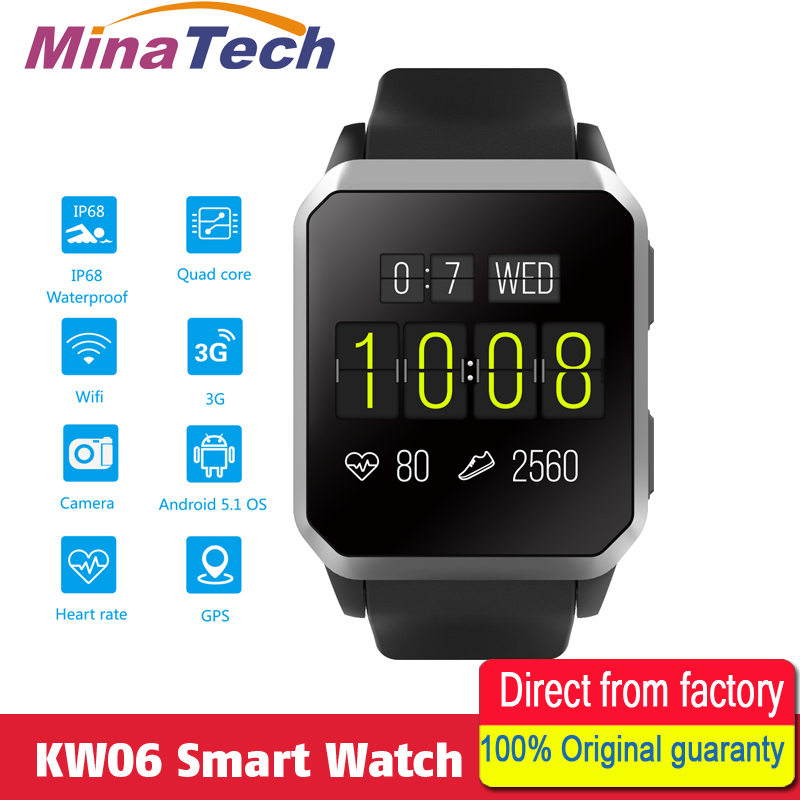 KW06 Smart Watch men Android 5.1 Wrist Phone MTK6580 512MB+8GB Heart Rate Monitor Bluetooth Smartwatch for Android iOS