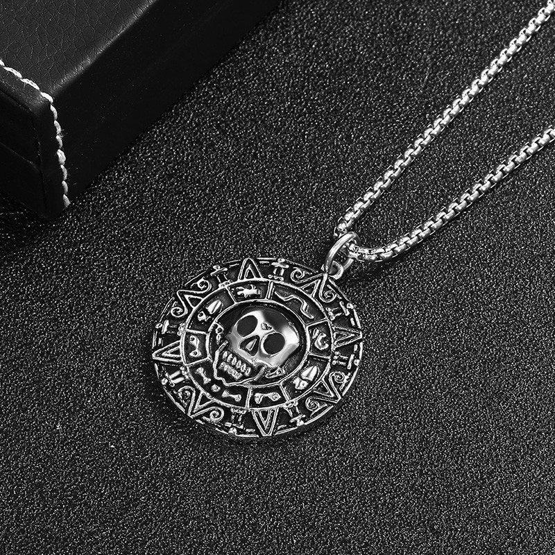 RIR Inspired By Pirates of the Caribbean Movies Cursed Aztec Coin Medallion Slavic Necklace Skull Necklace New Version