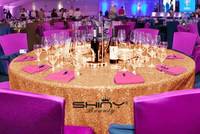 Gros 20PCS-132in Ronde Scintillant Blush Rose Or Sequin Nappe Sequin Table Overlay Pour Décorations