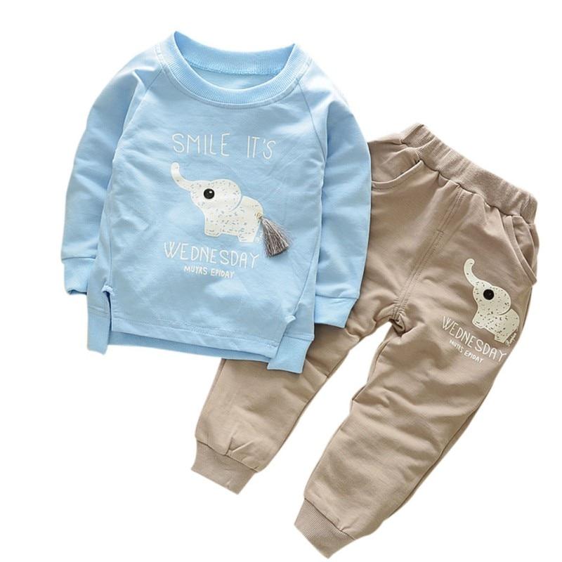 Kids Clothes AutumnWinter Baby Boys Girls Cartoon Elephant Cotton Set Child T-Shirt+Pants Suit Children Clothing Sets UQ84