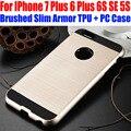 Case para iphone 7/7 plus 6 más 6 s sí 5S cepillado delgado armor neo hybrid silicone tpu + pc cubierta para iphone 7 ip701