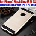 Case para iphone 7/7 plus 6 mais 6 s se 5S escovado armadura fino neo hybrid silicone tpu + pc capa para iphone 7 ip701