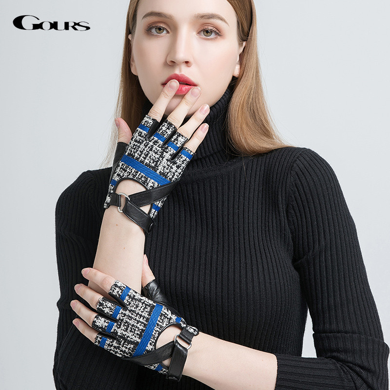 Gours Women's Genuine Leather Gloves Black Fashion Goatskin Half Finger Gloves Fall And Winter Fingerless New Arrival GSL029