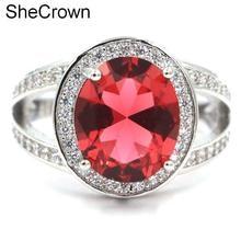 US sz 7.75# Classic Pink Raspberry Rhodolite  Garnet White CZ Womans Gift Silver Ring21x16mm