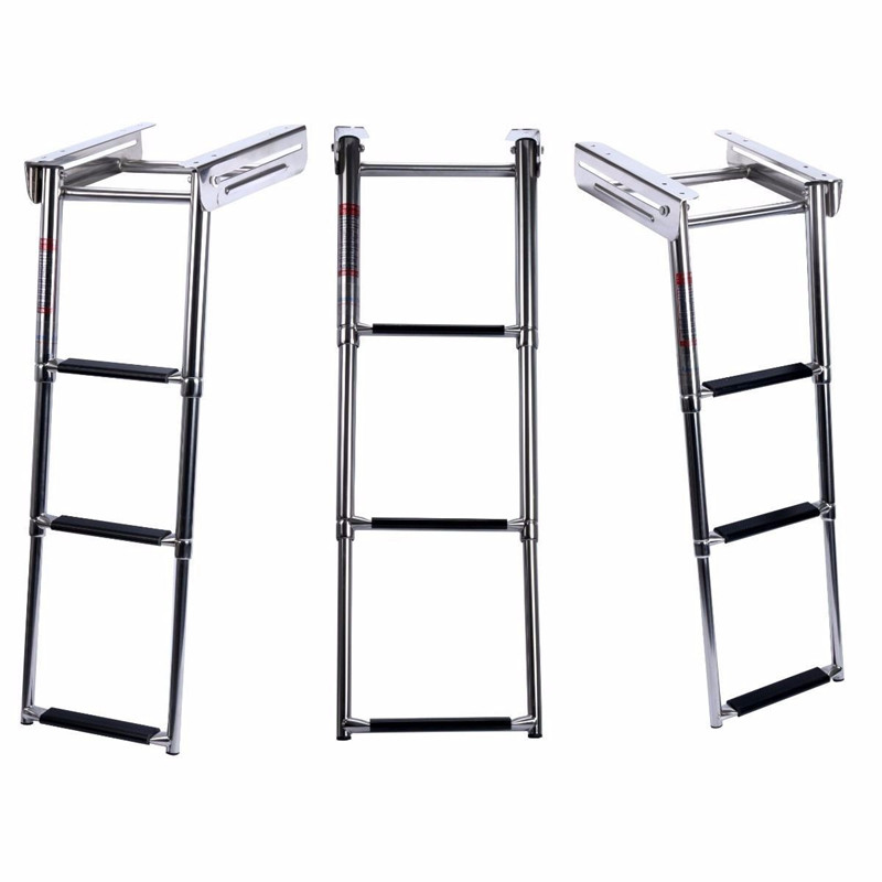 New Under Platform 3 Step Boat Boarding Ladder Stainless Steel Telescoping Swimming Pool Ladder