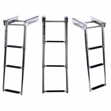 New Under Platform 3-Step Boat Boarding Ladder Stainless Steel Telescoping Swimming Pool Ladder