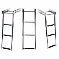 Nieuwe Onder Platform 3-Stap Boot Boarding Ladder Rvs Telescopische Zwembad Ladder