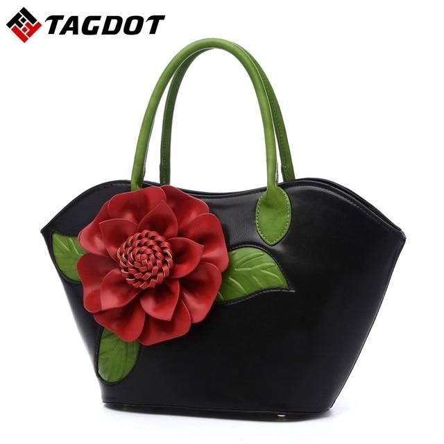 Women Bags famous brands women's leather handbags women messenger bags shoulder bag flowers bag ladies Vintage big totes
