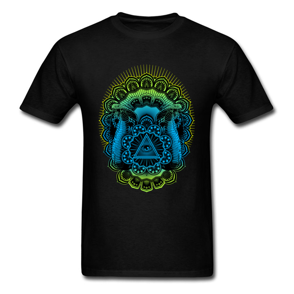 Sacred Guardians Cobra Snake All-seeing Eye Triangle Mandala Mens Cotton Black Tops Tee Shirts Custom Gift T-shirt