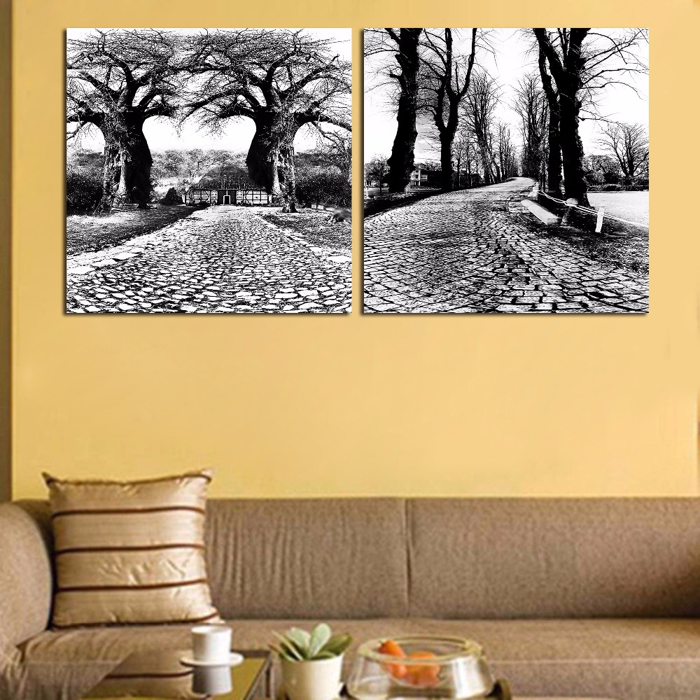 Unframed Black and White Country Road Scenery Canvas Prints Village ...