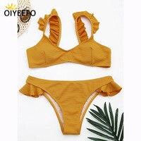 Oiyeefo綿高品質ソリッドピンク黄色ビキニブラジルフリル水