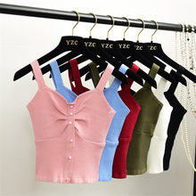 New Summer Vintage High Waist Women Sleeveless Vest All-match Girl Pink Spagetti Strap Outfits Slim Lady Basic Tops Brief WZ378(China)
