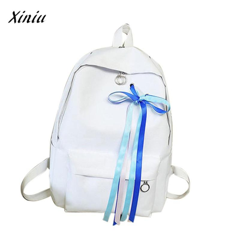 Women Vintage Ribbons Travel Backpack Vintage Backpacks Mochilas Escolares Canvas Backpack School Satchel Travel Book Bag