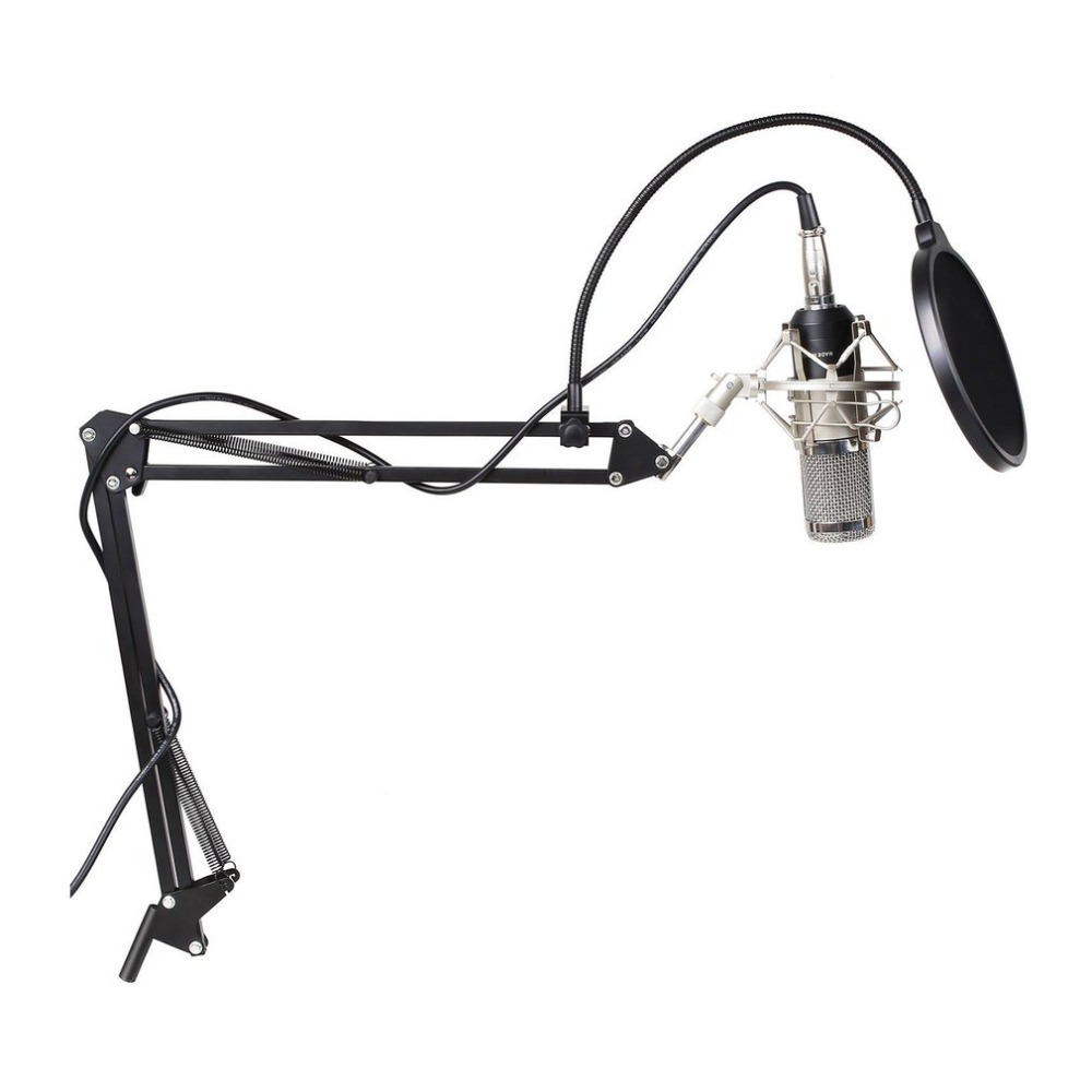 3 5mm wired computer microphone with stand professional bm800k audio vocal studio condenser. Black Bedroom Furniture Sets. Home Design Ideas