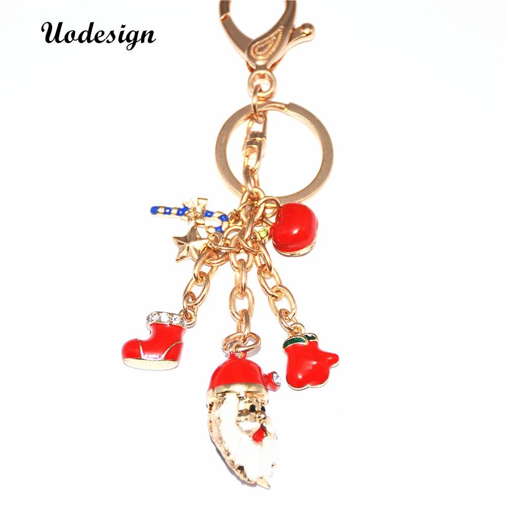 Uodesign Novelty trinket Gifts Christmas Sock Keychains Rhinestone Keyring charm Women Handbag key holder girl bag Pendant