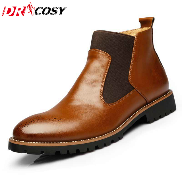 De los hombres de Martin Botas de Estilo Británico Tallada Brogue Oxford Botas de Tobillo Patea Los Zapatos de Cuero Genuino Slip-On Motorcycle cut-recortes Zapatos