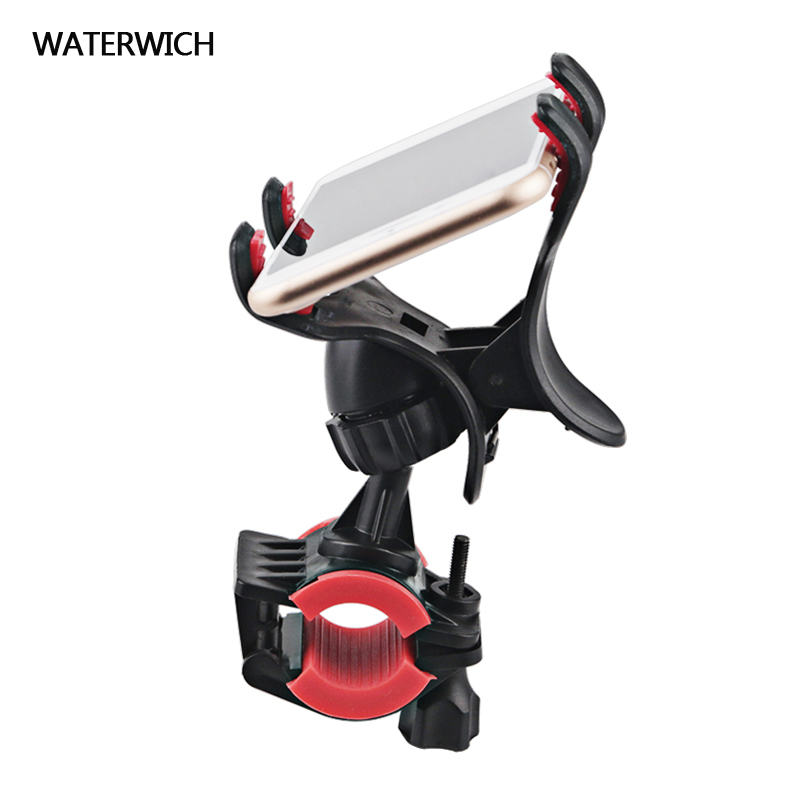 WATERWICH Phone Holder Bicycle Bike Handlebar Clip Stand Mount Bracket For iPhone Xiaomi Samsung Phones Holders 360 Rotate