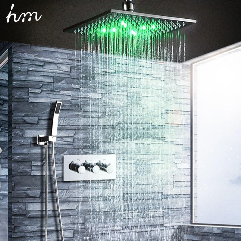 douche Ensemble de robinet de douche en or bross/é Montage mural 10Robinet de douche /à effet de pluie avec bo/îtier int/égr/é Mitigeur Kit de douche pour baignoire