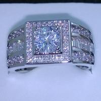 Знаменитости дизайн художественной Harmony Для мужчин 10kt белого золота заполнено камень 5A Циркон Камень Обручальное кольцо Sz 7 13 Бесплатная до