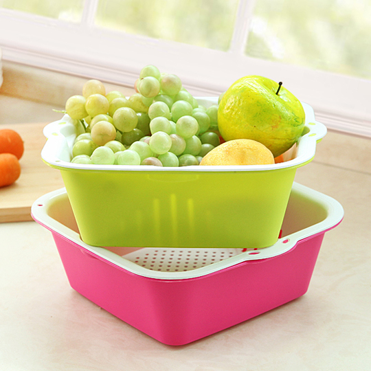 Us 7 59 5 Off Double Plastic Square Drain Basket Fruit Basket Vegetables Basket Vegetables Basin Storage Basket In Storage Baskets From Home