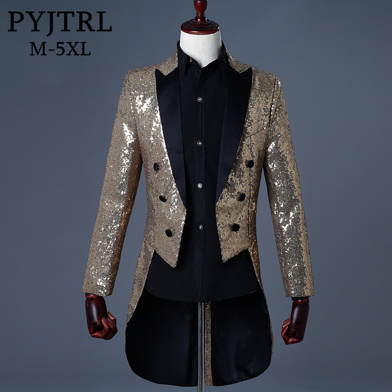 PYJTRL 2018 Men Gold Silver Red Blue Black Sequin Slim Fit Tailcoat Stage Singer Prom Dresses Costume Wedding Groom Suit Jacket