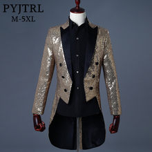 PYJTRL 2018 Men Gold Silver Red Blue Black Sequin Slim Fit Tailcoat Stage Singer Prom Dresses Costume Wedding Groom Suit Jacket(China)