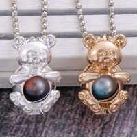 2 colori di figura Dell'orso Diffusore di Aroma Collana di Profumo di Olio Essenziale Diffusore Aromaterapia Pendente Della Collana Pendente Della gabbia di Perle