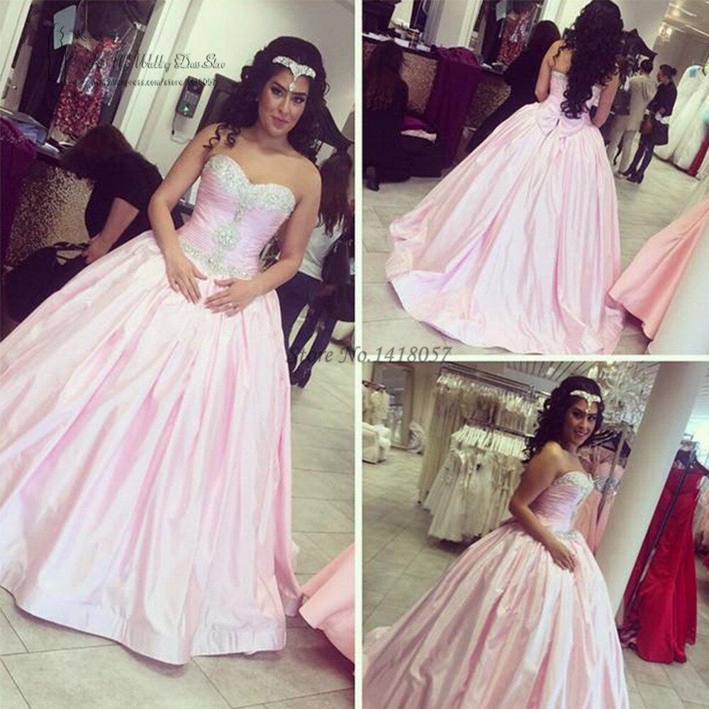 Custom Made Satin Pink Wedding Dress 2017 Rhinestones Bride Dresses Wedding Gowns Beaded Ball Gown Vestidos De Noiva Vintage