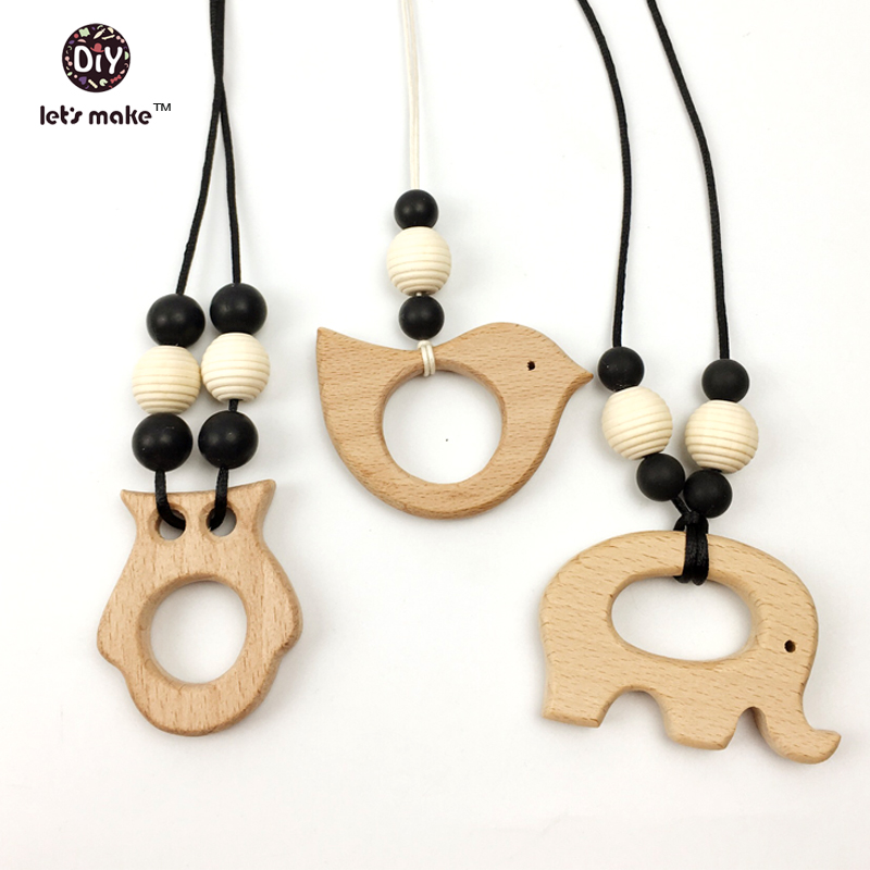 Let's make Nursing Teething Baby wearing Necklace,sling,carrier Wood teether  olw and elephant ,handmade,kids toy gift