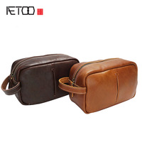 AETOO New makeup bag oil light skin retro handbags men's first layer of leather hand-held bag