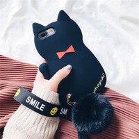 Stereo Siyah Kedi Telefon Kılıfı Için iPhone 7 anti-güz yumuşak kabuk topu bilezik gelgit Yumuşak Telefon Kapak Için iPhone 7