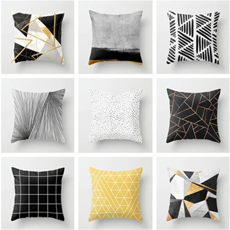 1PC 45*45cm Polyester Pillow Case Nordic Style Black White Gray Yellow Geometric Printed Decorative Throw Pillow Pillow Case